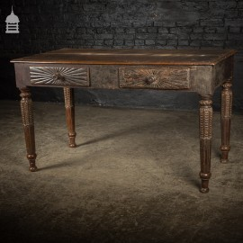 Impressive 18th C Hardwood Side Table with Carved Starburst Drawers