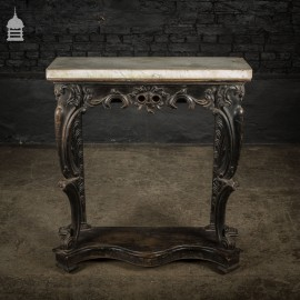 19th C Marble Topped Ebonised Console Table with Ornate Carving