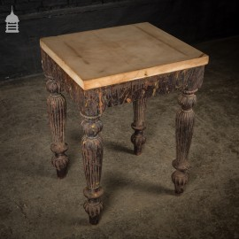 19th C Hardwood Side Table with Reeded Legs and Distressed Paint Finish