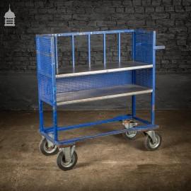 Vintage Industrial Dark Blue Steel Trolley Mobile Shelving Unit