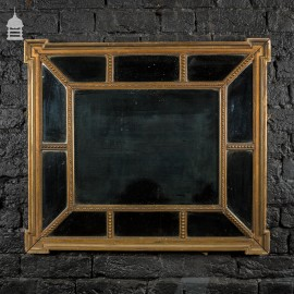 19th C Sectional Gilt Framed Mirror with Original Plate Glass