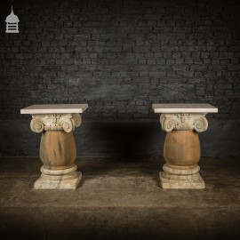 Pair of 19th C Marble Capitals Column Components with Reclaimed Hardwood Pillars Plinths