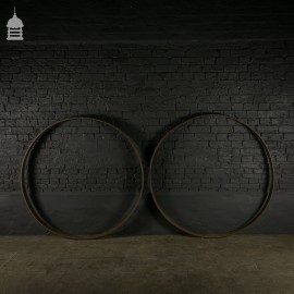 Large Pair Wrought Iron Rings from Cart Wheels