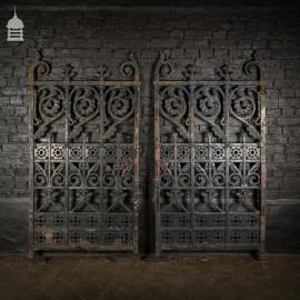 Grand 19th C Pair of Decorative Cast Iron Gates