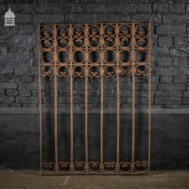 Decorative 19th C Wrought Iron Railing Panel with Scroll Design