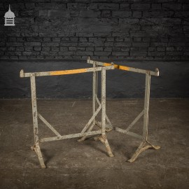 Pair of 19th C Riveted Wrought Iron Blacksmiths Trestles