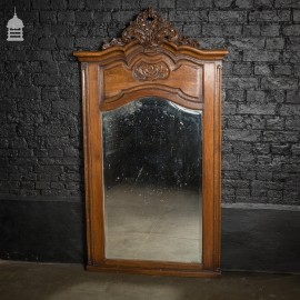 19th C English Plate Mirror with Carved Oak Frame