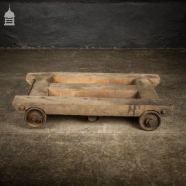 Vintage Industrial Factory Trolley Dolly with Cast Iron Wheels