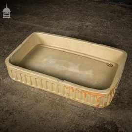 Large Worn Victorian Cane Fluted Shallow Belfast Butler Sink