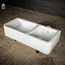 Large White Shanks Ceramic Double Bowl Sluice Sink