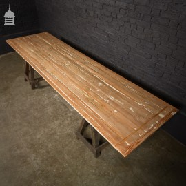 Reclaimed Strip Mahogany and Pine Table Top Made By Us