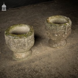 Pair of Weathered Reconstituted Stone Garden Planters with Greek Key Design