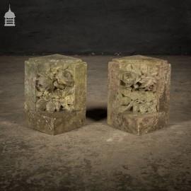 Pair of 19th C Carved Marble Decorative Corner Stones