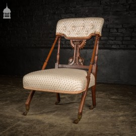 19th C Walnut Aesthetics Movement Upholstered Nursing Chair