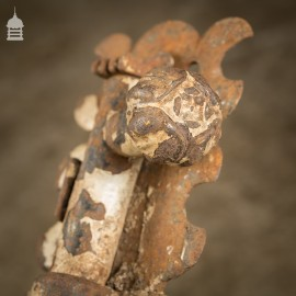 Pair of 19th C Decorative Forged Iron Ecclesiastical Tower Bolts from a Church with Tudor Rose Detail