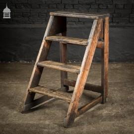 Industrial Set of 4 Distressed Pine Workshop Steps