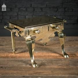 Georgian Polished Brass Trivet Footman's Stool with Handles