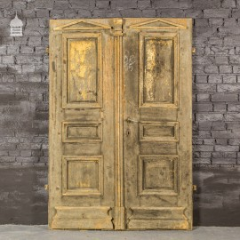 18th Century French Pine Double Doors with Pediment Shaped Mouldings