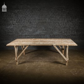 Bygone White Washed Slatted Pine Workbench Table