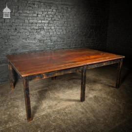 8ft x 5ft Large Scale Vintage Iroko Top Meeting Table with Distressed Black Base