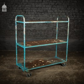 Blue Vintage Steel Mobile Shelving Unit Wheeled Industrial Trolley