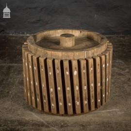 Vintage Bygone Wooden Industrial Cog Wheel Roller