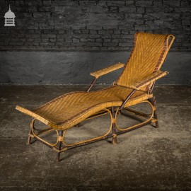 19th C Wicker Steamer Chair Folding Recliner Lounger