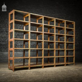 Large Early 20th C Industrial Shelving Unit with Numbered Shelves Brown and Green Paint