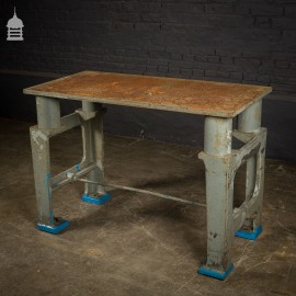 Mid Century Industrial Steel Topped Surface Table with Cast Iron Base and Distressed Paint