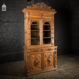 19th C European Elaborately Carved Glazed Gothic Tall Sideboard