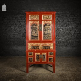19th C Detailed Chinese Red Lacquer Cabinet