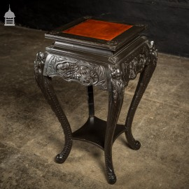 Dark Finish Anglo Indian Jardinière Stand with Leather Top