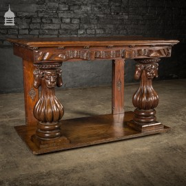 19th C Oak Side Table With Reeded Carved Bulbous Pilasters