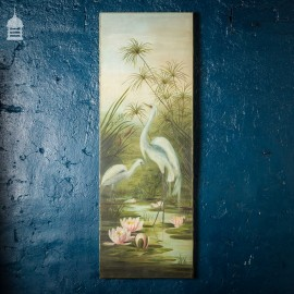 19th C Oil On Canvas Egret Painting
