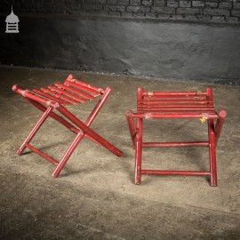 Pair of Folding Vintage Red Painted Faux Bamboo Luggage Stands Racks