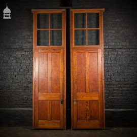 Pair of 19th C Pitch Pine Doors with Glazed Overhead Frames