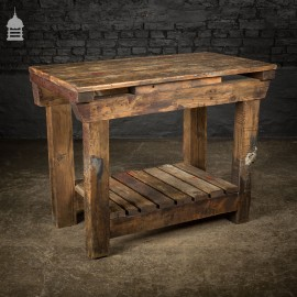 Industrial Pine Workbench Table with Slatted Shelf