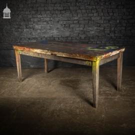 Large Vintage Industrial Paint Shop Workbench Table