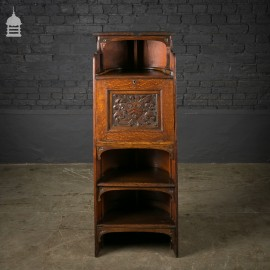 Arts and Crafts Carved Oak Barrel Back Letter Cupboard