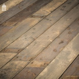 Batch of 30 Square Metres of Reclaimed Pine Roof Boards Wall Cladding with Distressed Paint