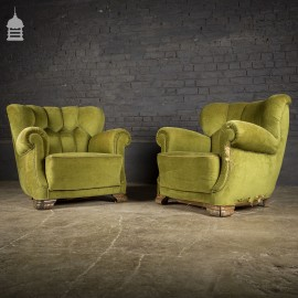 Pair of Green Art Deco Tub Chairs Arm Chairs
