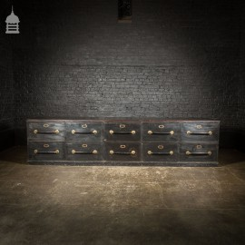 Large Scale 19th C Ten Drawer Counter Unit with Distressed Ebonized Finish