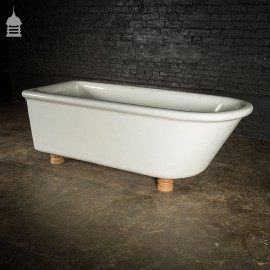 19th C White Fire Clay Ceramic Bath on Later Turned Hardwood Feet