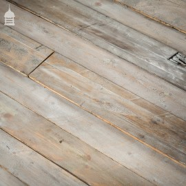 Batch of 20 Square Metres Distressed White Finish Mixed Width Rough Cut Thin Pine Wall Cladding