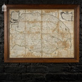 18th C Map of Norfolk by Eman. Bowen Geog.r Dated 1749 in Later Frame