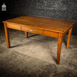 Edwardian Oak Clerks Desk with Centre Brass Pull Handle Drawer