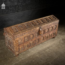 19th C Carved African Tribal Chest Trunk