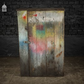 Industrial Pine Workshop Cupboard Cabinet with Distressed Paint