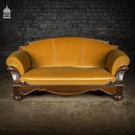 Art Deco Mahogany Sofa with Mustard Upholstery on Bun Feet