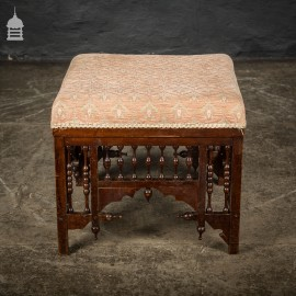 19th C Aesthetics Movement Mahogany Footstool with Turned Detail